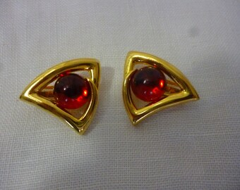 Vintage Large Abstract Clip On Earrings, Red Cabochons