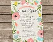 Bridal Shower Invitation : Watercolor Foilage Bridal Shower Invitation