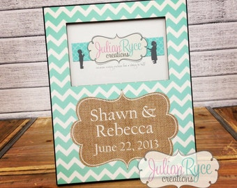 Custom Monogrammed Chevron Picture Frame with Burlap