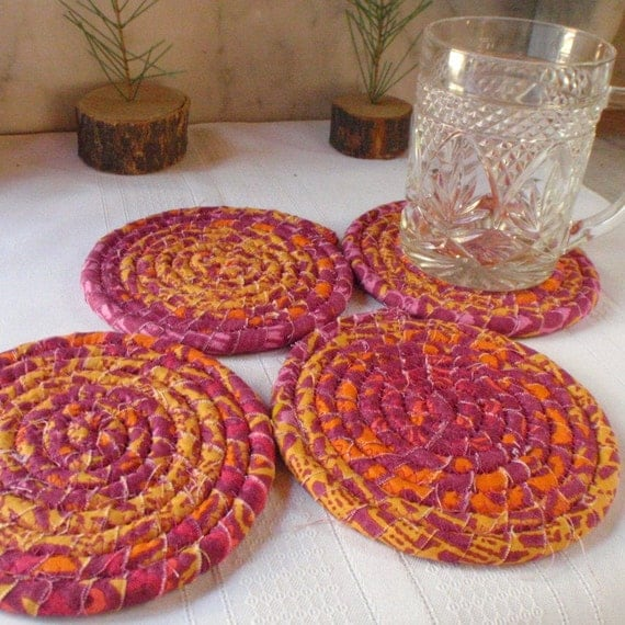 Coiled Fabric Coasters Set of 4 Housewares Kitchen