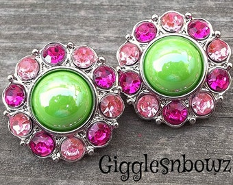 NEW Set of TWO SHiNY APPLE GReeN Pearl with Pink and Hot Pink Rhinestone Buttons 25mm