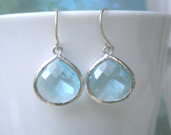 Aquamarine Earrings, Baby Blue Earrings, Silver Framed Glass Earrings