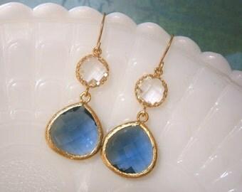 Sapphire Earrings, Clear Crystal Earrings, Blue Earrings, Gold Earrings, Jewelry Under 40, Gifts for Her