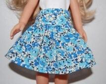 "Blue Flowers Skirt - Doll Clothes handmade Corolle 13"" Les Cheries or 14"" Heart for Hearts tkct464"
