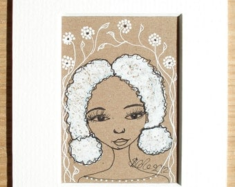 Matted/Mounted Original ACEO Drawing on Brown Kraft Card 'Sweet Romance'