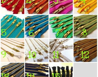10 inch brass metal zippers, Pick FIVE pcs, burnt orange, olive, brown, red, grey, black, green, blue, sunflower, pink fuchsia, white