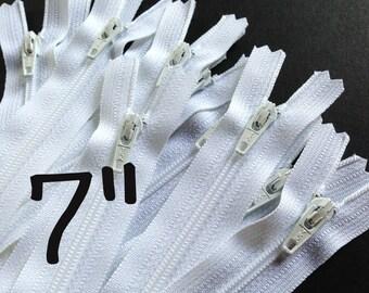 7 Inch white YKK zippers, Ten pcs, YKK color 501, dress, skirt, pouch zippers