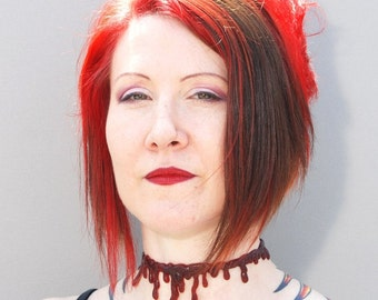 Halloween Makeup- Zombie Costume - Bloody Drip  choker necklace - Dark