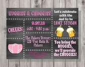 Digital Chalkboard Style Huggies & Chuggies Pink Squares Baby Shower Party Invitation DIY Printable