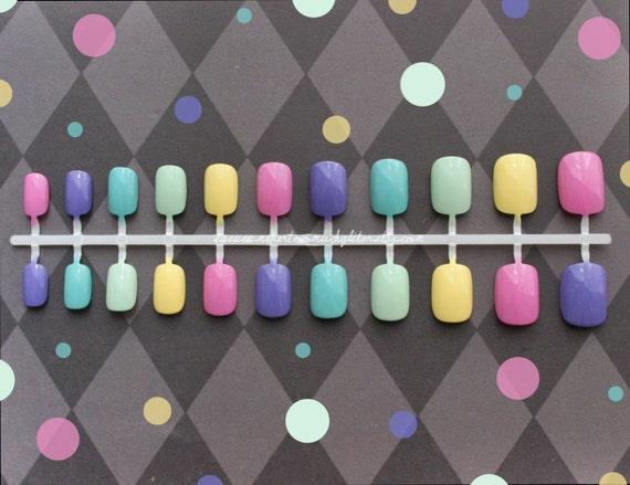 Pastel Skittles. Fake Nails, Kawaii, False Nails Set, Rainbow, Skittles, Press On Nails, Cute, Petite Fake Nail, Short Fake Nails, Girly