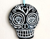 Large Sugar Skull Ornament Painted Day of the Dead Decor Black and White Ceramic Dia de los muertos - MADE TO ORDER