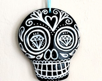 Sugar Skull Ornament Hand Painted Day of the Dead Decor Black and White Ceramic Dia de los muertos - large - READY TO SHIP