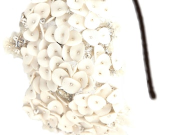 Bridal headband, Silver beaded, luxury designer, side headband, vintage wedding, FLOWER, DISC,  rhinestone, hair accessory