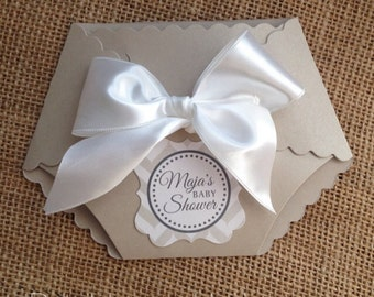 DieCut Diaper Baby Shower Invitation with Satin Bow on Sand Pearlescent Card stock Copy