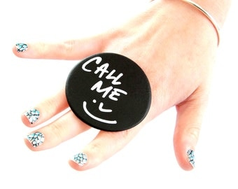 CHALKBOARD Ring Ceramic  - Back to school, big ring, bold ring,oversized ring, novelty ring, Studioleanne
