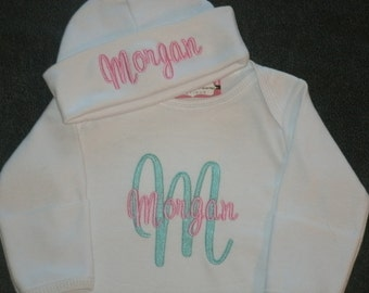 PERSONALIZED Coming Home Outfit  Infant Gown and Cap set Monogrammed