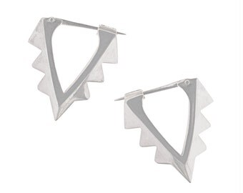 Sterling Silver Aztec Hoops