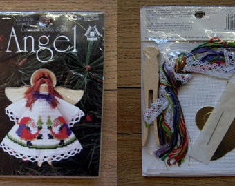 1996 cross stitch kit mini angel doll NIP