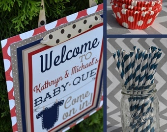 Baby-Que Baby Shower Party Decorations Blue Red Brown Fully Assembled
