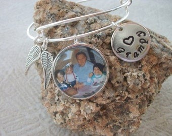 In Memory Adjustable Bangle Bracelet - Loved Ones In Remembrance - Custom Photo - Personalized