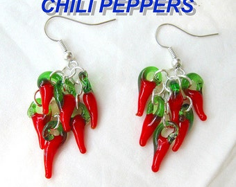 RED chili peppers earrings charms bunch Mexican folk altered art aretes food