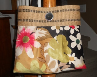 "Handmade Purse...The ""Brooke""...in ""Velvet Floral"" with Jute Webbing Band"