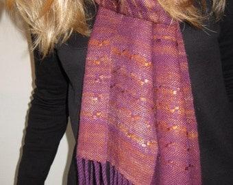 Handwoven scarf - handspun - Silk, yak, mink, soy, baby merino