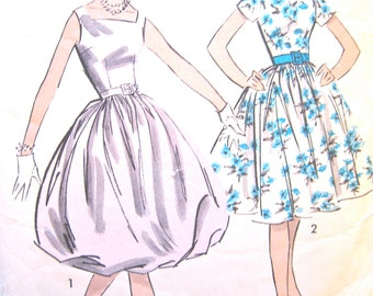Vintage 1950s Advance 9004 Puff Dress Bubble Skirt Dress Sewing Pattern  Bust 34 inches