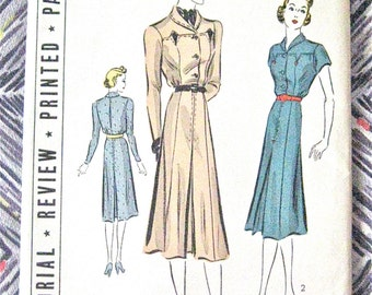 Uncut 1930s Pictorial Review Printed Dress Pattern 9466 Vintage Sewing 30s Dress   Bust 40 inches