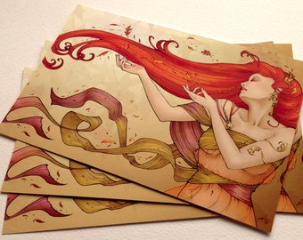Autumn's Kiss - Art Print 4x6, fantasy artwork, autumn, fall, art nouveau, goddess, red hair, changing seasons