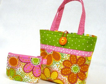 Citrus Daisy Fabric Little Girls Purse Coin Purse Set Mini Tote Bag Childs Purse Kids Bag Pink Orange Yellow Green MTO