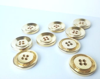 Gold Metal Heavyweight Buttons - 7/8 inch - set of 9