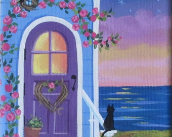 Folk Art Print Summer Night Seascape Twilight