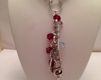 Dangling key silver and red crystal adjustable charm necklace
