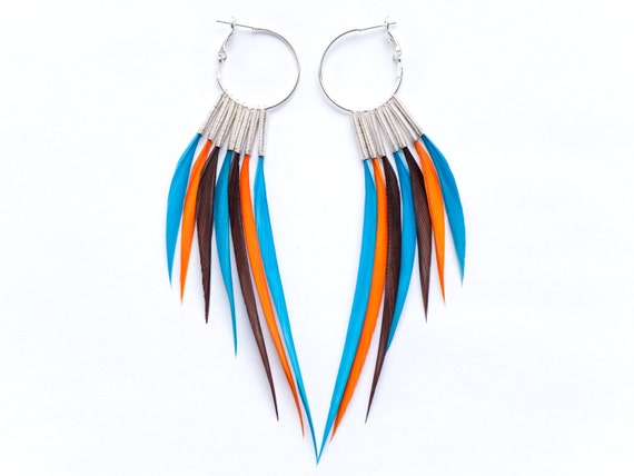 Large Bright Interchangeable Feather Earrings in Turquoise Blue, Orange and Brown on Silver Hoops