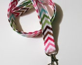 Lanyard  ID Badge Holder - Remix Chevron zig zag pink green - Lobster clasp and key ring