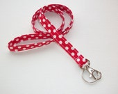 Lanyard  ID Badge Holder - NEW THINNER design - White Polka Dots on red  - Lobster clasp and key ring