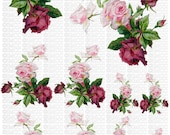Instant Digital Download Cottage Pink Roses Red Roses Flowers Vintage Era Transparent Background PNG - U Print ECS