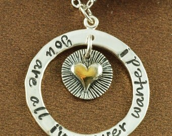 Hand Stamped Jewelry, Personalized Necklace, Heartl Jewelry, Love Necklace, Gifts for Her