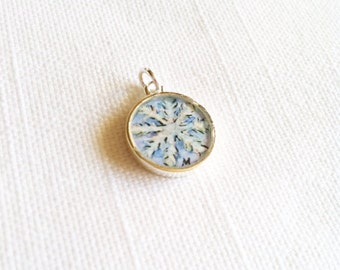 Snowflake hand painted watercolor charm illustration