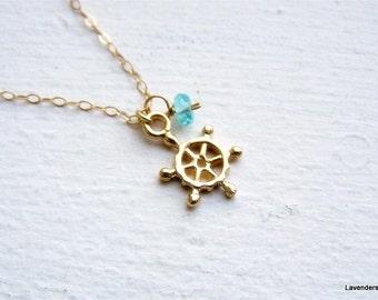 Ship Wheel Necklace , Nautical Necklace , Ship Helm Necklace , Sailing Necklace , Apatite  gold Necklace