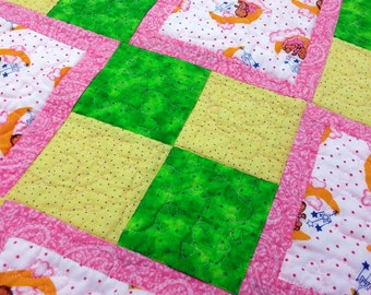 Pink Yellow Green Baby Quilt Baby Dolls and Moons Quilted Blanket Quilted Bedding Quilts