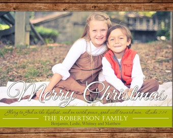 Photo Picture Christmas Holiday Card Elegant Merry Christmas Bible Verse Traditional - Digital File