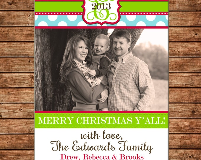 Photo Picture Christmas Holiday Card Polka Dot Monogram Merry Christmas Y'all - Digital File