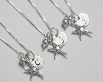 Starfish Necklace, Starfish Jewelry, Beach Wedding  Necklace, Sterling Silver Starfish Necklace, Beach Wedding Bridesmaid Necklace