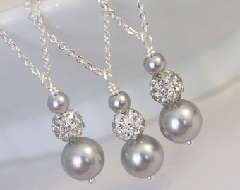 CHOOSE YOUR COLORS - Light Grey Pearl Necklace, Bridesmaid Gift, Bridesmaid Necklace