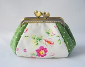 Rose and Polka dot coin Purse jewellery purse