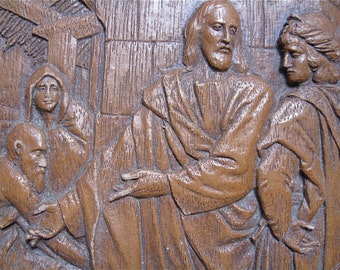 Cathedral of St John the Divine Vintage Souvenir of Composite Faux Wood Jesus and other Holy People