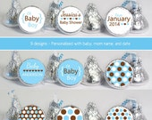 baby shower favors (No.k70) boy polka dots blue brown oh baby hearts candy stickers
