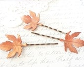Vintage Copper Maple Leaf Hair Pin Set - Bobby Pin - Woodland Collection - Whimsical - Bridal